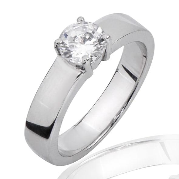 แหวนทอง 18K ประดับเพชร น้ำหนักรวม 0.40 กะรัต ค่าสี F ค่าความสะอาด VS1 EX/EX/EX เพชรมาพร้อมใบรับรองจากสถาบัน GIA