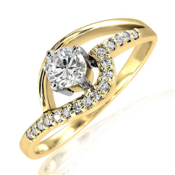 แหวนทอง 18K ประดับเพชร น้ำหนักรวม 0.35 กะรัต ค่าสี F ค่าความสะอาด VS2