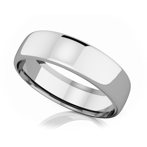 แหวนPlatinum - 6.50 mm Domed shape romantic classic band