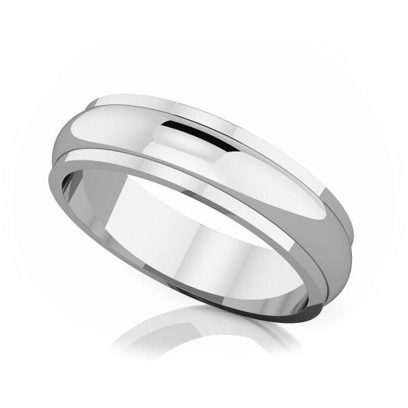 แหวนPlatinum - 5 mm Half rounded edge romantic classic band