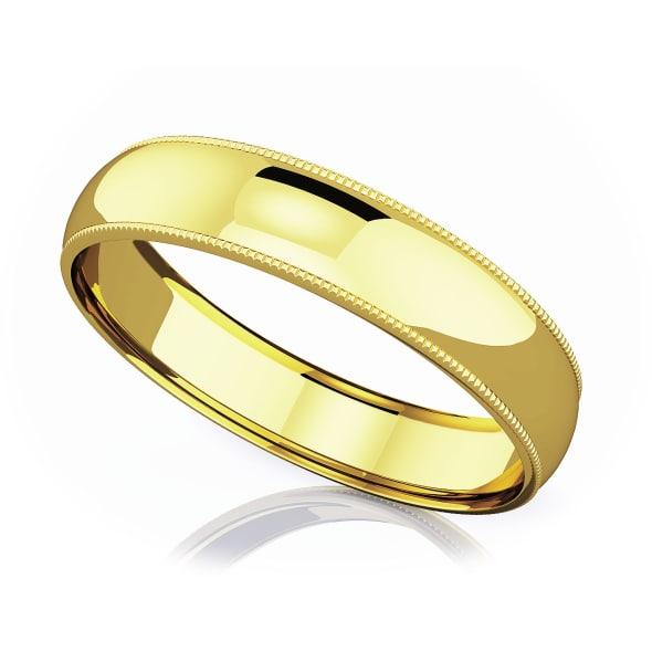 แหวนทอง - 18K 5 mm Milgrain domed romantic classic band