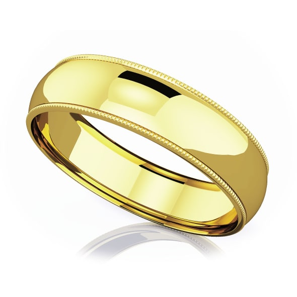 แหวนทอง - 18K 6 mm Milgrain domed romantic classic band
