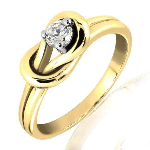 18K Gold and 0.15 Carat F Color VS Clarity Diamond Ring