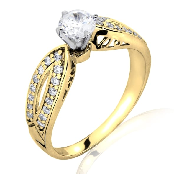 18K Gold and 0.75 Carat G Color VS2 Clarity GIA Certified Diamond Ring