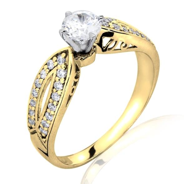 แหวนทอง 18K ประดับเพชร น้ำหนักรวม 0.75 กะรัต ค่าสี G  ค่าความสะอาด VS2 เพชรมาพร้อมใบรับรองจาก GIA