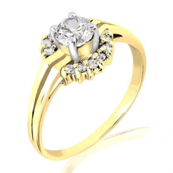แหวนทอง 18K ประดับเพชร น้ำหนักรวม 0.42 กะรัต ค่าสี F ค่าความสะอาด VS2 EX/EX/EX เพชรมาพร้อมใบรับรองจากสถาบัน GIA