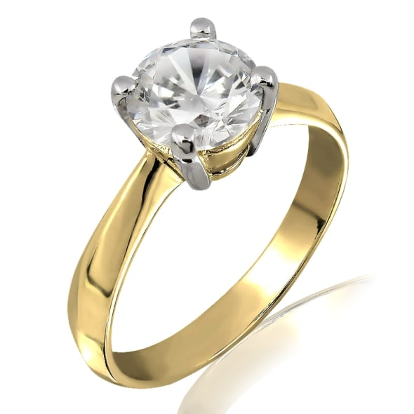 18K Gold and 0.30 Carat F Color VS1Clarity EX/EX/EX GIA Certified Diamond Ring
