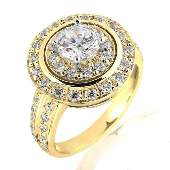 แหวนทอง 18K ประดับเพชร น้ำหนักรวม 1.00 กะรัต ค่าสี E ค่าความสะอาด VVS2