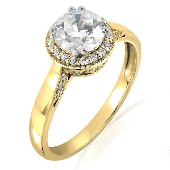 แหวนทอง 18K ประดับเพชร น้ำหนักรวม 1.00 กะรัต ค่าสี E ค่าความสะอาด VS1 EX/EX/EX เพชรมาพร้อมใบรับรองจาก IGL