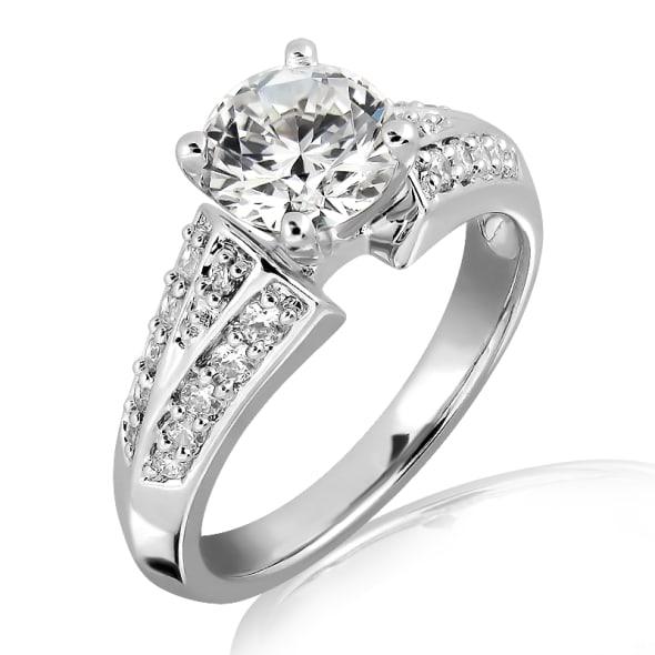 แหวนทอง 18K ประดับเพชร น้ำหนักรวม 1.50 กะรัต ค่าสี H ค่าความสะอาด VS1 EX/EX/EX เพชรมาพร้อมใบรับรองจากสถาบัน GIA