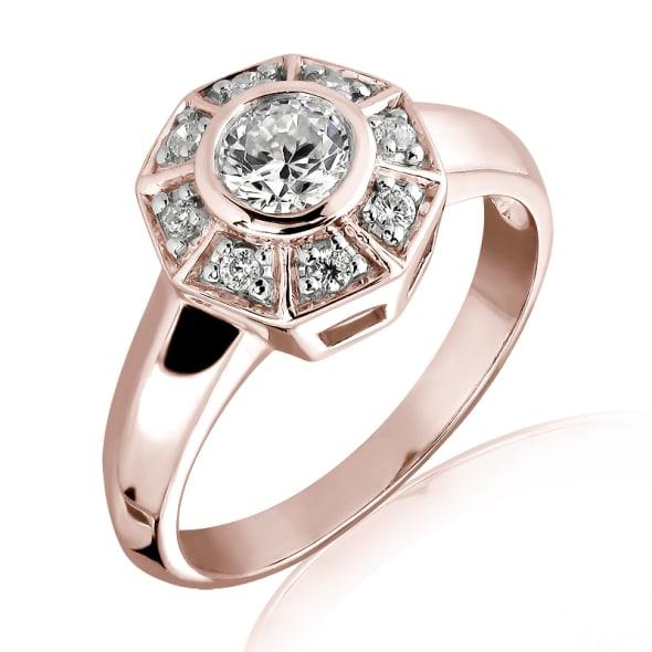 แหวนทอง 18K Rose Gold ประดับเพชร น้ำหนักรวม 0.35 กะรัต ค่าสี E ค่าความสะอาด VS1