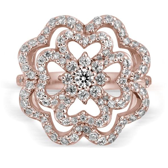 แหวนทอง 18K Rose Gold ประดับเพชร น้ำหนักรวม 0.75 กะรัต ค่าสี E ค่าความสะอาด VS1