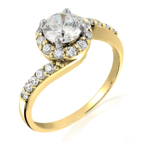 18K Gold and 0.45 Carat F Color VS Clarity Diamond Ring
