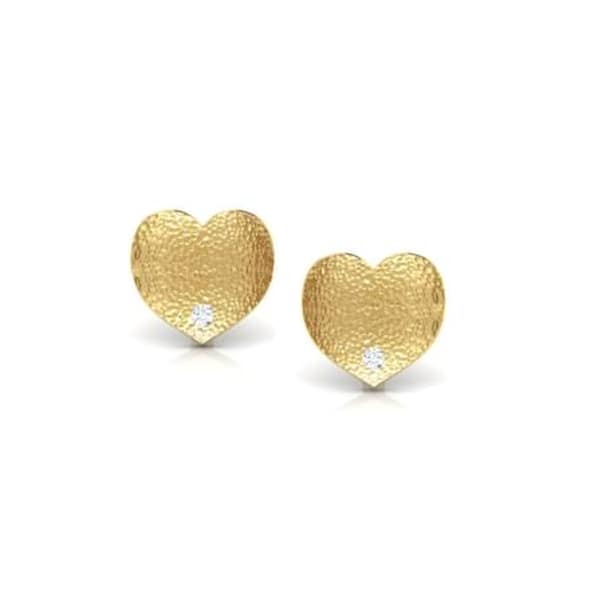 18K Gold and 0.02 carat Diamond Earrings