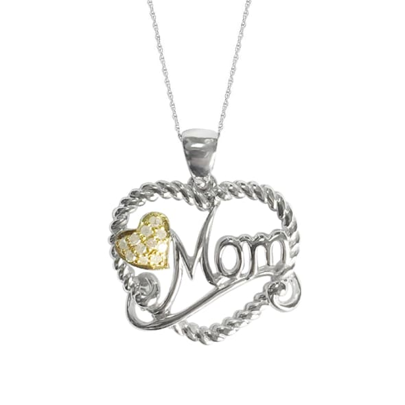 18K Gold GP and 0.07 Carat  Diamond Pendant with 18 Inches Chain