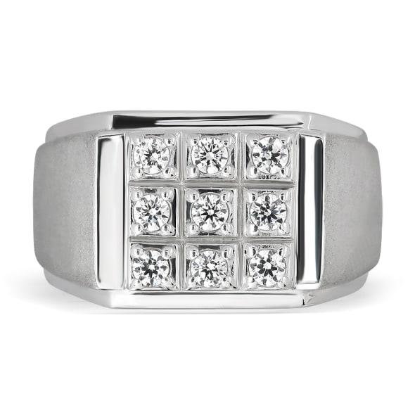 แหวนทอง 18K ประดับเพชร น้ำหนักรวม 0.29 กะรัต ค่าสี E ค่าความสะอาด VS2