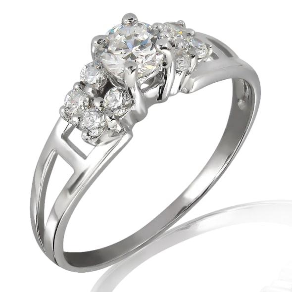แหวนทอง 18K ประดับเพชร น้ำหนักรวม 0.50 กะรัต ค่าสี F ค่าความสะอาด VS