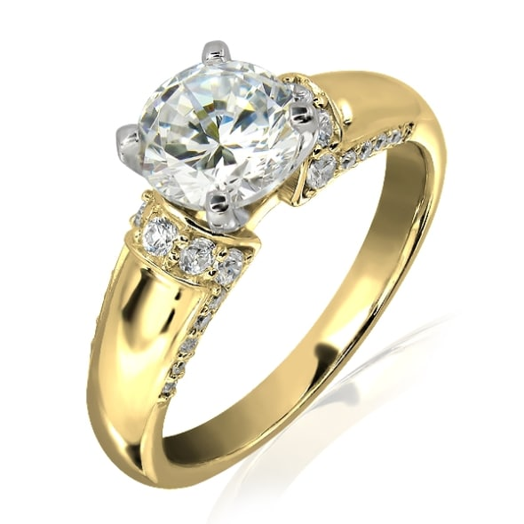 18K Gold and 0.80 Carat E Color VS1 Clarity EX/EX/EX  GIA Certified Diamond Ring