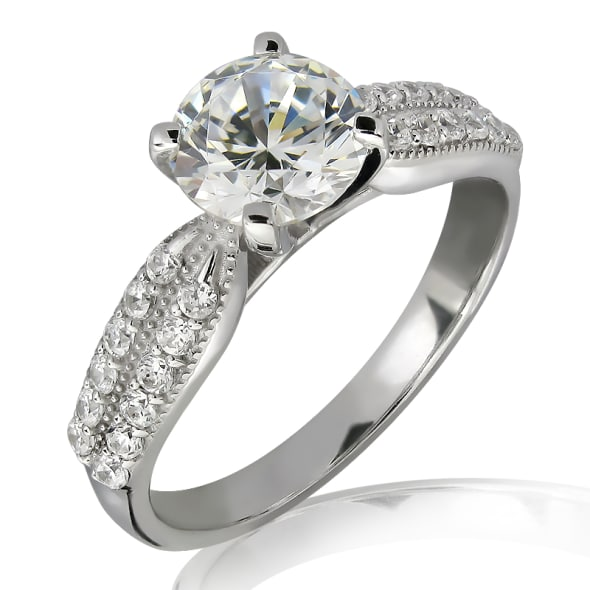 18K Gold and 0.75 Carat E Color and VS2 Clarity GIA Certified Diamond Ring