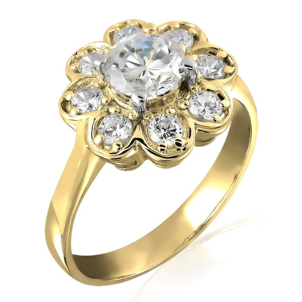 18K Gold and 0.55 Carat E Color VVS2 Clarity Diamond Ring