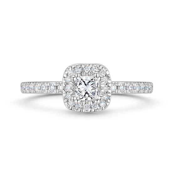แหวนทอง 18K ประดับเพชร น้ำหนักรวม 0.70 กะรัต ค่าสี G ค่าความสะอาด VS