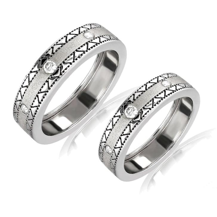 แหวนคู่รักทอง 18K ประดับเพชร น้ำหนักรวม 0.40 กะรัต ค่าสี F ค่าความสะอาด VS