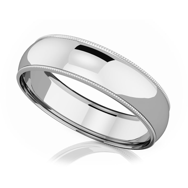 แหวนPlatinum - 6 mm Milgrain domed romantic classic band