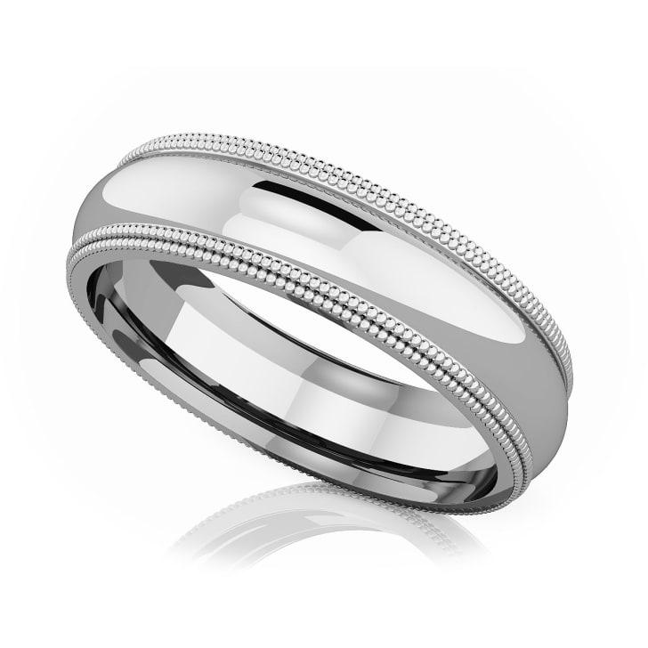 แหวนPlatinum - 5 mm Double milgrain domed romantic classic band