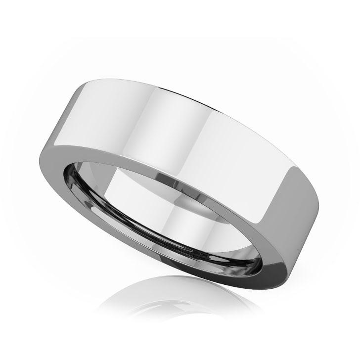 แหวนPlatinum - 6 mm Flat comfort fit classic band