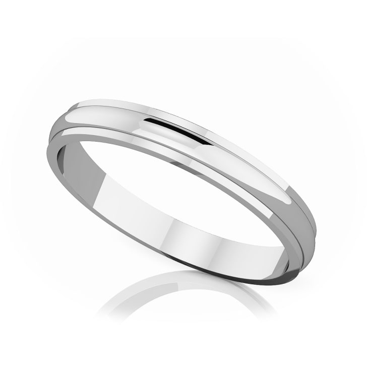 แหวนPlatinum - 3 mm Half rounded edge romantic classic band