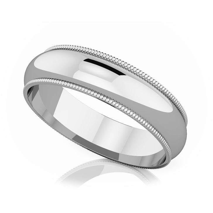 แหวนPlatinum -  5 mm Milgrain edge romantic classic band