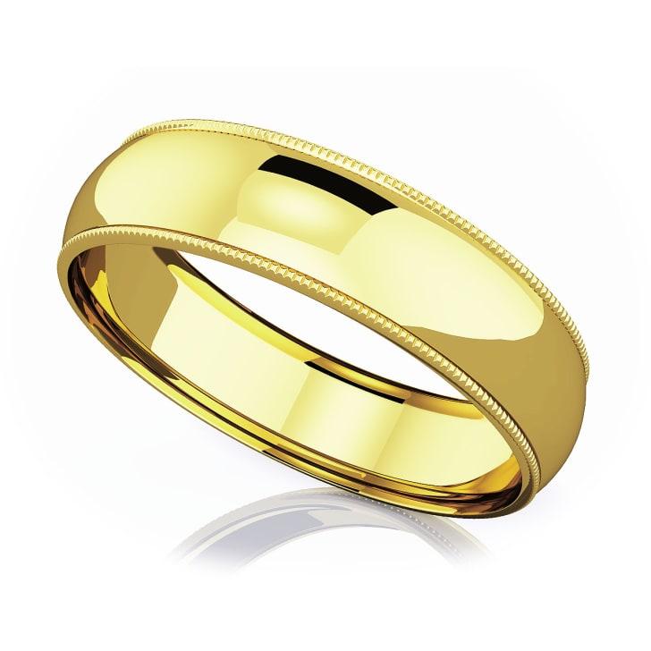 แหวนทอง - 18K 6 mm Milgrain domed romantic classic band