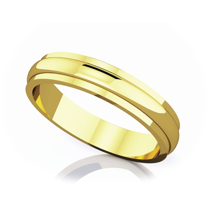 แหวนทอง - 18K 4 mm Half rounded edge romantic classic band