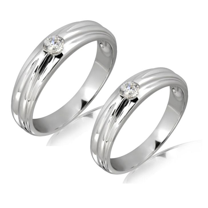 แหวนทองคู่รัก 18K ประดับเพชร น้ำหนักรวม 0.25 กะรัต ค่าสี E ค่าความสะอาด VS