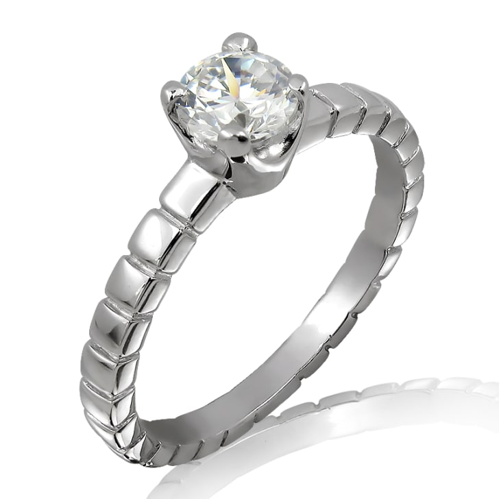 18K Gold and 0.40 Carat E Color VVS1 Clarity EX/EX/EX GIA Certified Diamond Ring
