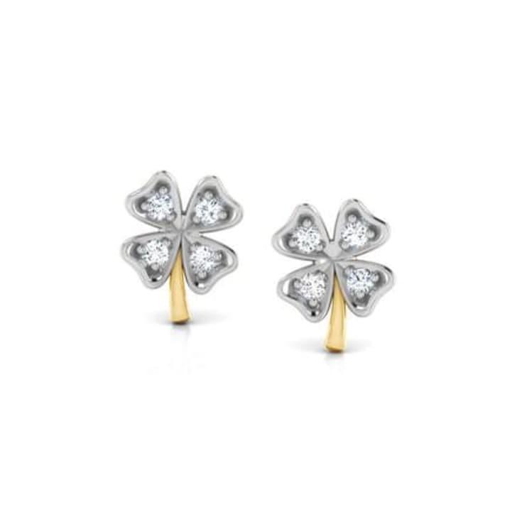 18K Gold and 0.03 carat Diamond Earrings