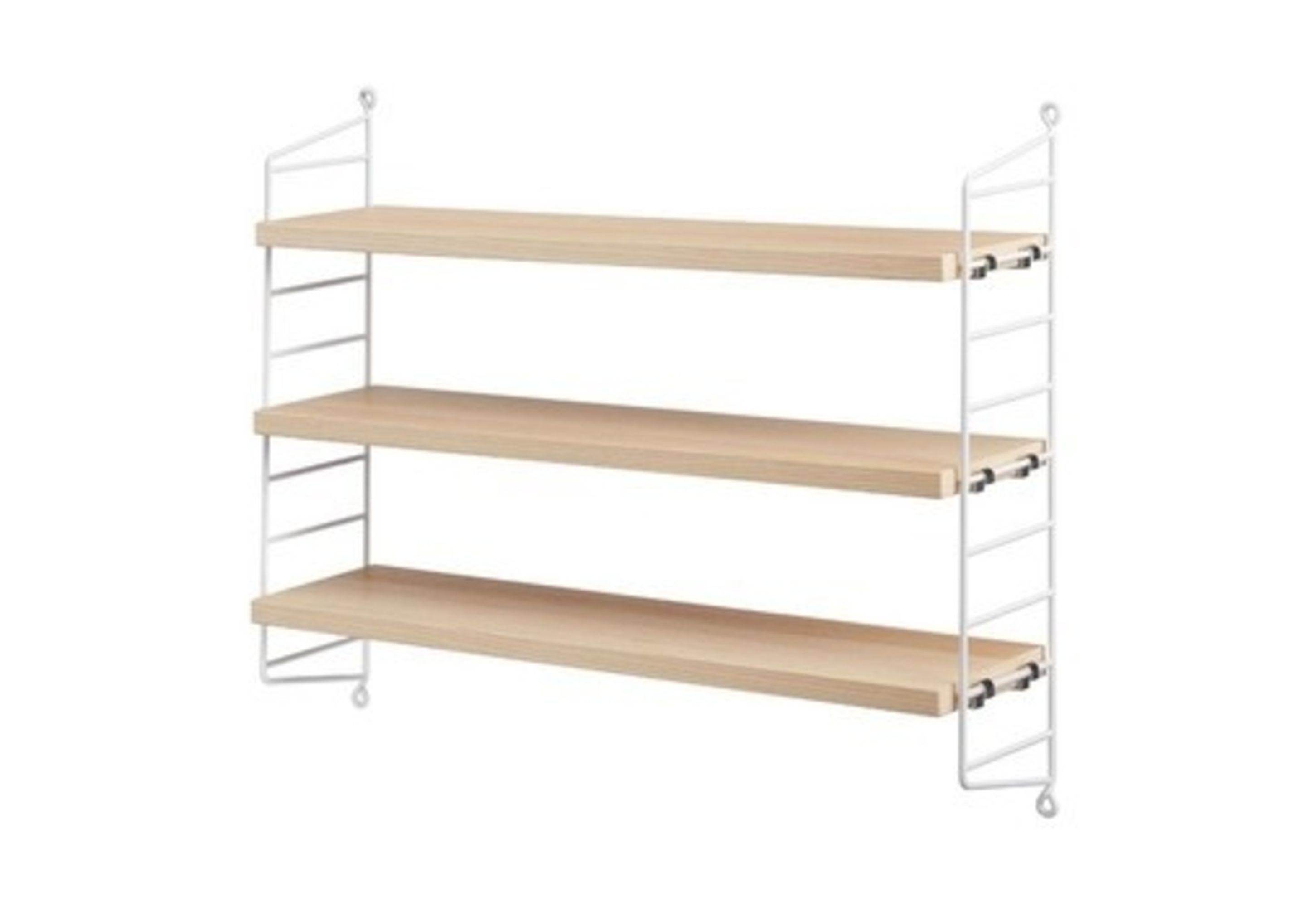 Wall To Wall Shelves string pocket wall shelf - ash/white