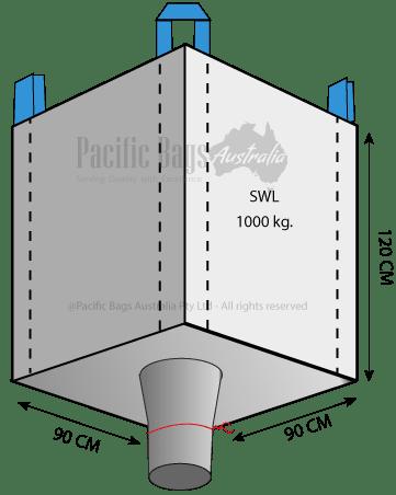 1.0 Tonne - Open Top Spout Bottom - Bulk Bag - 90 x 90 x 120 CM