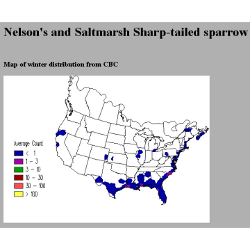 Nelson's Sharp-tailed Sparrow winter distribution map