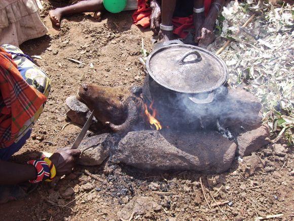 Cooking in traditional Samburu style