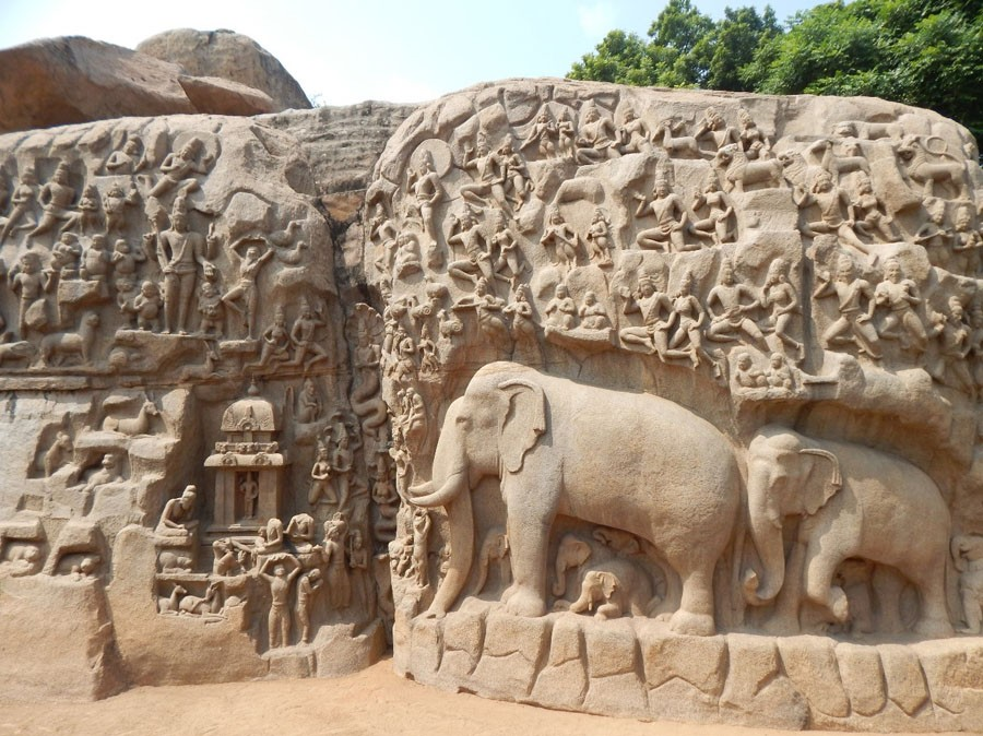 Felsrelief in Mahabalipuram