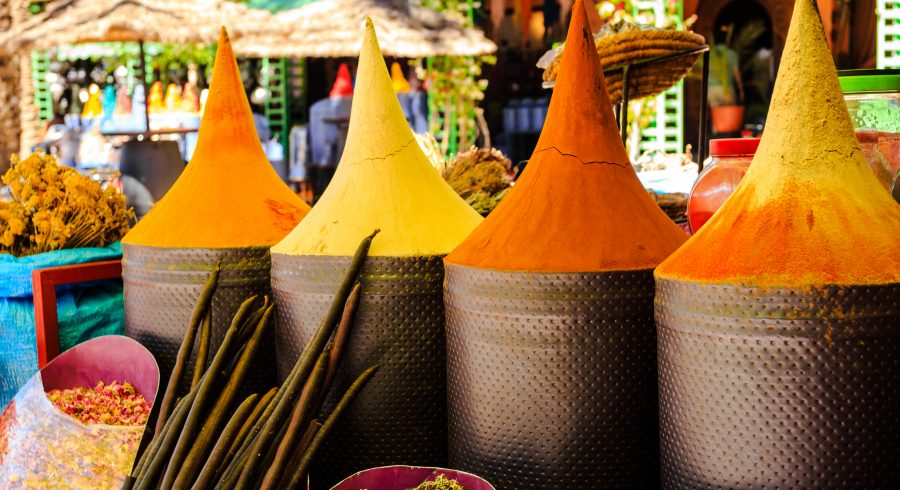 Spices at a souk on your Morocco trip