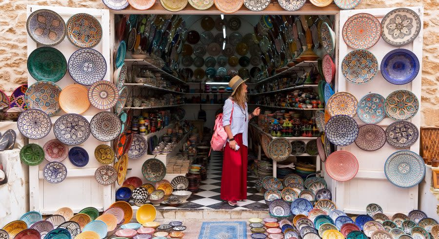 A typical market in Marrakech selling colorful wares.
