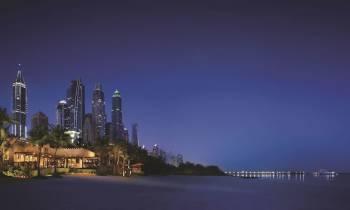 Resort view from beach night