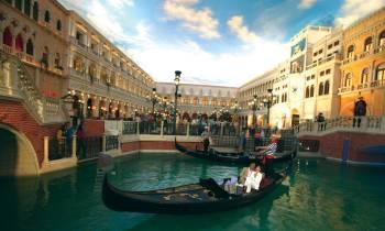 a boat sitting on top of The Venetian Las Vegas