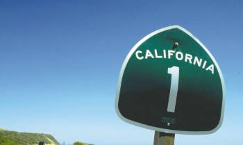 a close up of a street sign sitting on the side of a road