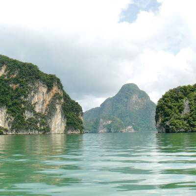 a body of water with Ha Long Bay in the background