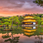 Enchanting Travels Japan Tours Kyoto, Japan at Kinkaku-ji, The Temple of the Golden Pavilion at dusk