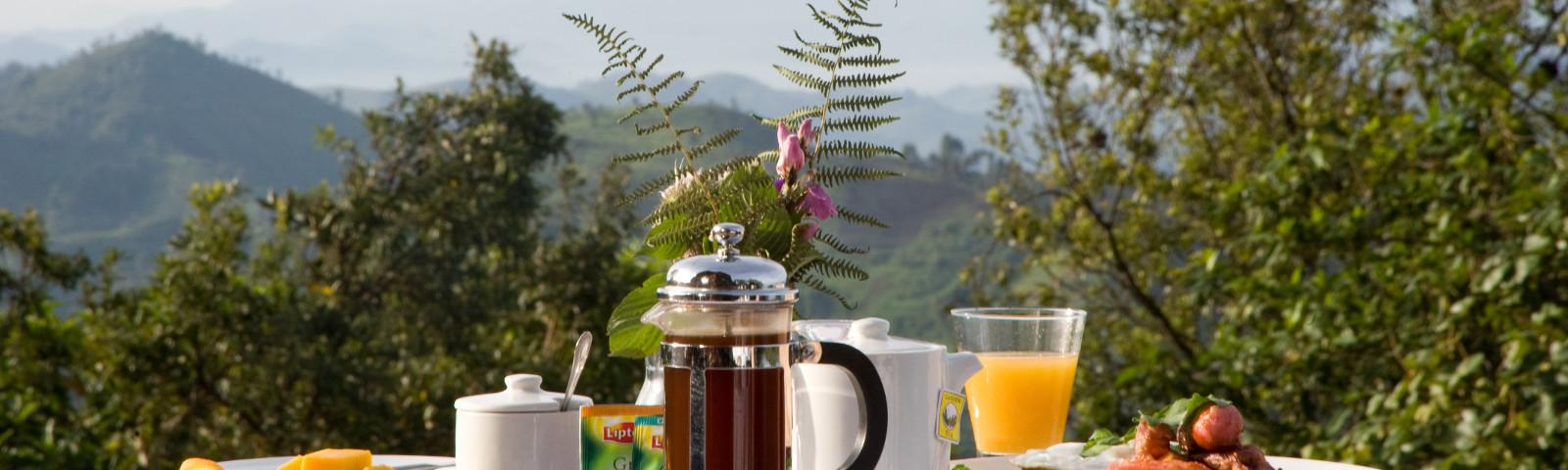 Frühstück um Hotel Clouds Estate in Winelands, Südafrika