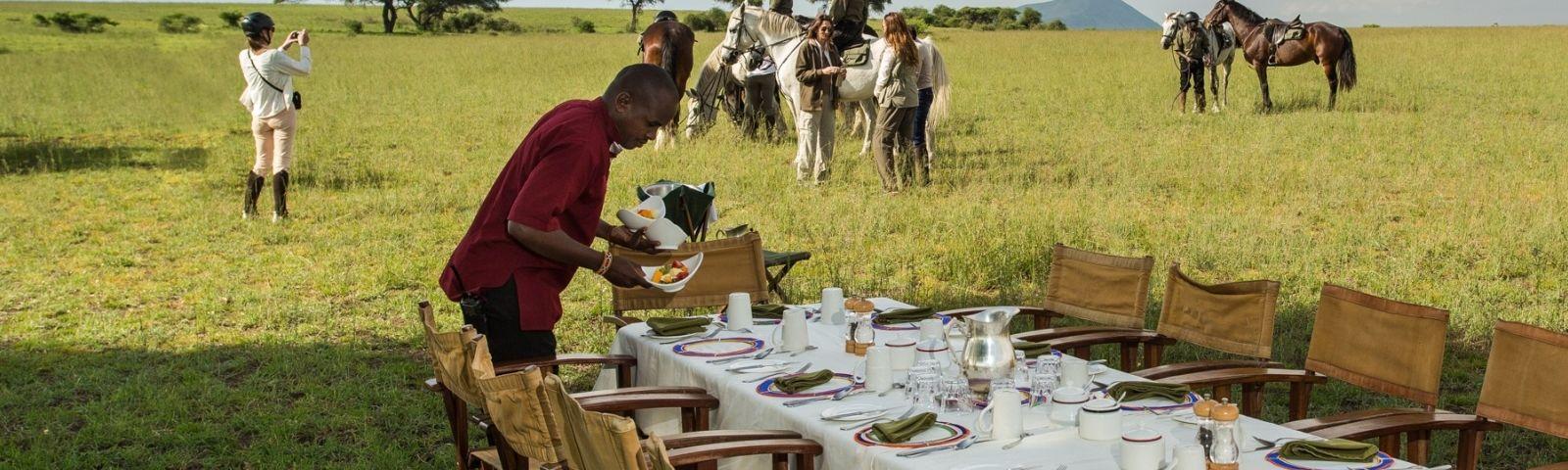 Breakfast at hotel Ol Donyo Lodge in Chyulu Hills, Kenya